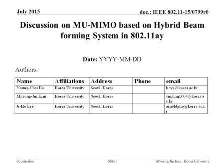 Submission doc.: IEEE 802.11-15/0799r0 July 2015 Myeong-Jin Kim, Korea UniversitySlide 1 Discussion on MU-MIMO based on Hybrid Beam forming System in 802.11ay.