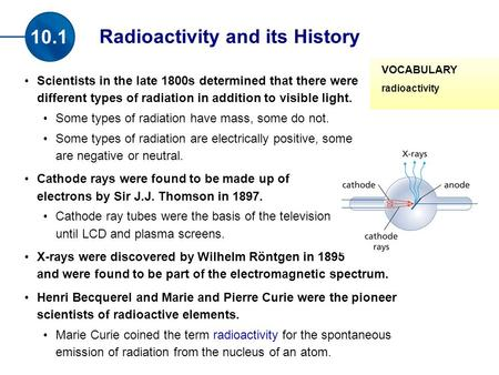Scientists in the late 1800s determined that there were different types of radiation in addition to visible light. Some types of radiation have mass, some.
