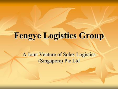 Fengye Logistics Group A Joint Venture of Solex Logistics (Singapore) Pte Ltd.
