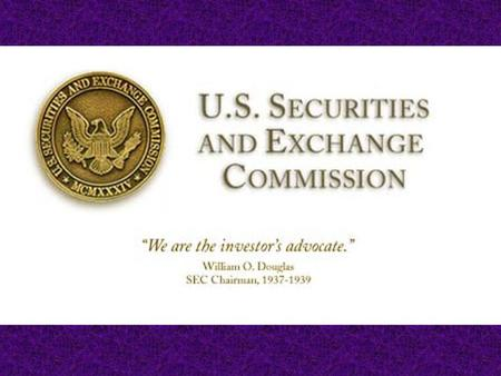 Disclaimer The SEC as a matter of policy disclaims responsibility for any private publication or statement by any of its employees. The views expressed.