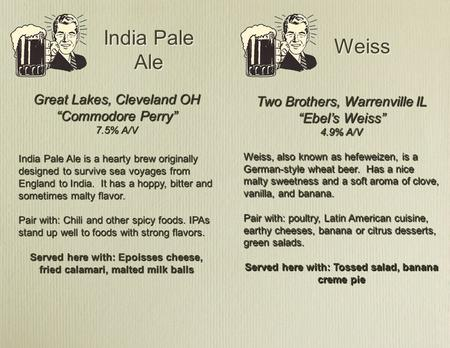 "India Pale Ale Weiss Great Lakes, Cleveland OH ""Commodore Perry"" 7.5% A/V India Pale Ale is a hearty brew originally designed to survive sea voyages from."