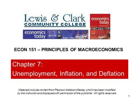 1 Chapter 7: Unemployment, Inflation, and Deflation ECON 151 – PRINCIPLES OF MACROECONOMICS Materials include content from Pearson Addison-Wesley which.