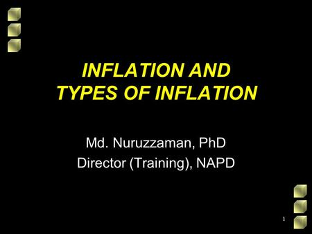 INFLATION AND TYPES OF INFLATION Md. Nuruzzaman, PhD Director (Training), NAPD 1.