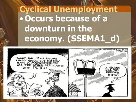 Cyclical Unemployment Occurs because of a downturn in the economy. (SSEMA1_d)