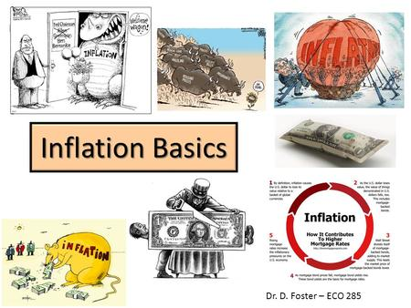 Inflation Basics Dr. D. Foster – ECO 285. Inflation Defined A continuous rise in the general price level. Not a rise in some prices. Not a one-time rise.