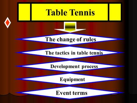 Table Tennis The change of rules The tactics in table tennis Development process Event terms Equipment.
