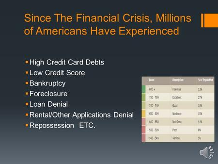 Since The Financial Crisis, Millions of Americans Have Experienced  High Credit Card Debts  Low Credit Score  Bankruptcy  Foreclosure  Loan Denial.