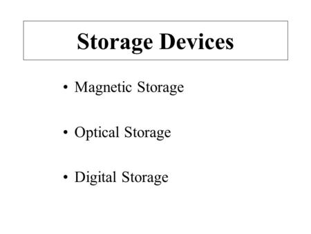 Storage Devices Magnetic Storage Optical Storage Digital Storage.