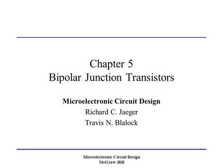 Chapter 5 Bipolar Junction Transistors