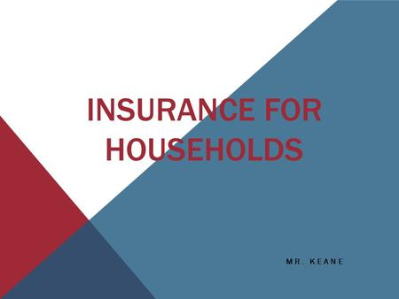 INSURANCE FOR HOUSEHOLDS MR. KEANE. INSURANCE COMPANY LOGO QUIZ 1. 2. 3. 4.