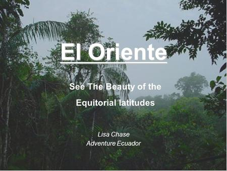 El Oriente Lisa Chase Adventure Ecuador See The Beautyof the Equitorial latitudes.