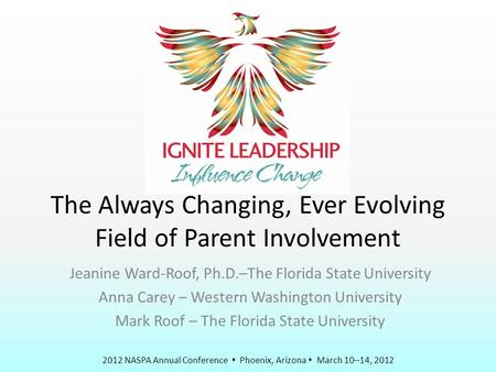 2012 NASPA Annual Conference  Phoenix, Arizona  March 10–14, 2012 The Always Changing, Ever Evolving Field of Parent Involvement Jeanine Ward-Roof, Ph.D.–The.