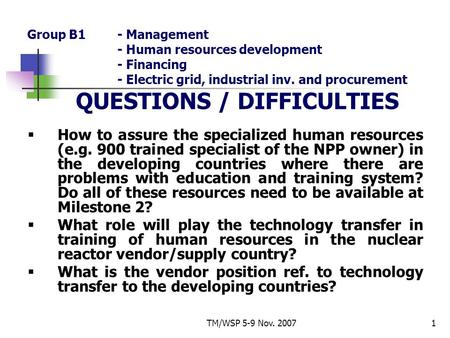TM/WSP 5-9 Nov. 20071 Group B1- Management - Human resources development - Financing - Electric grid, industrial inv. and procurement QUESTIONS / DIFFICULTIES.