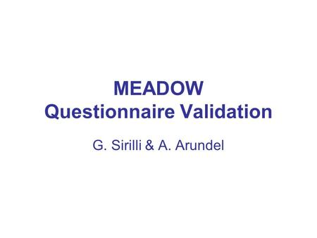 MEADOW Questionnaire Validation G. Sirilli & A. Arundel.