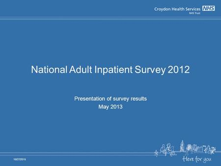 National Adult Inpatient Survey 2012 Presentation of survey results May 2013 10/27/2015.