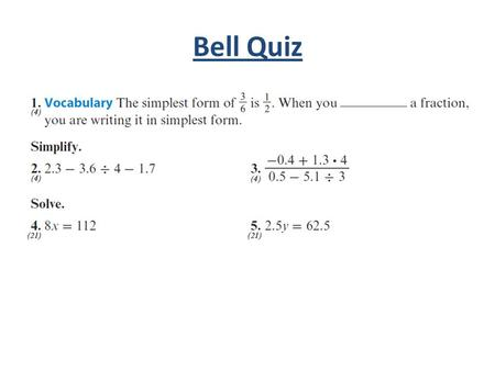Bell Quiz. Objectives Solve rate and ratio problems.
