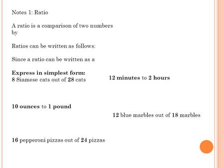 Splash Screen Chapter 4 Lesson 4-1. ratio rate Express ratios as ...