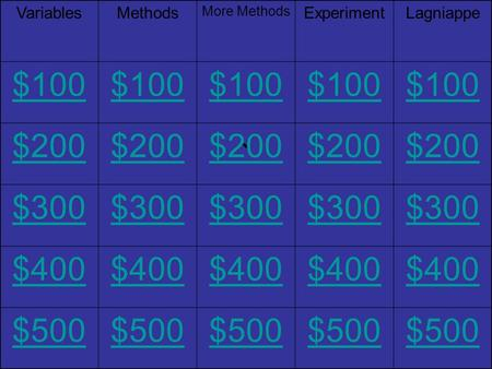 ` VariablesMethods More Methods ExperimentLagniappe $100 $200 $300 $400 $500.