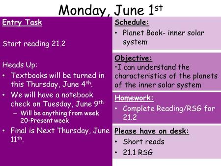 Monday, June 1 st Entry Task Start reading 21.2 Heads Up: Textbooks will be turned in this Thursday, June 4 th. We will have a notebook check on Tuesday,