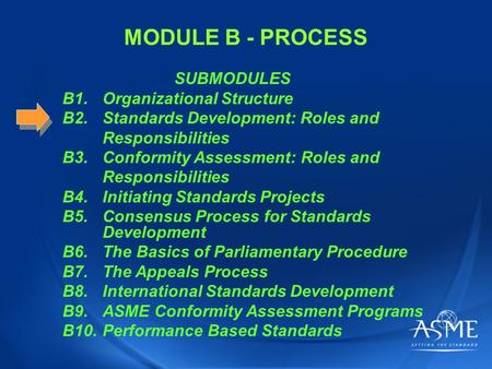 MODULE B - PROCESS SUBMODULES B1.Organizational Structure B2.Standards Development: Roles and Responsibilities B3.Conformity Assessment: Roles and Responsibilities.