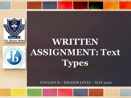 ASSIGNMENT: Text Types