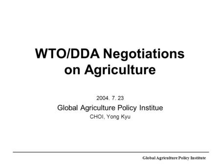 Global Agriculture Policy Institute WTO/DDA Negotiations on Agriculture 2004. 7. 23 Global Agriculture Policy Institue CHOI, Yong Kyu.