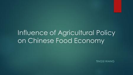 Influence of Agricultural Policy on Chinese Food Economy TINGSI WANG.