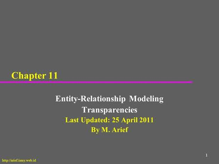 1 Chapter 11 Entity-Relationship Modeling Transparencies Last Updated: 25 April 2011 By M. Arief
