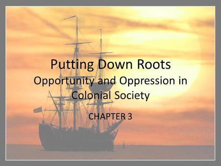 Putting Down Roots Opportunity and Oppression in Colonial Society CHAPTER 3.