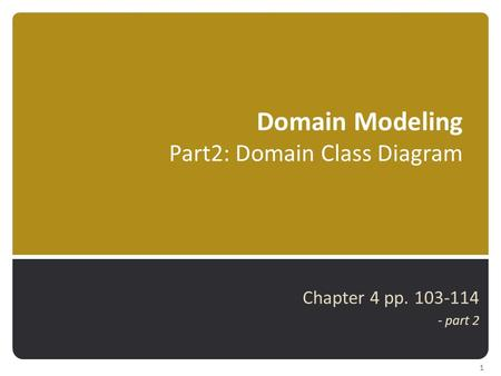 Domain Modeling Part2: Domain Class Diagram Chapter 4 pp. 103-114 - part 2 1.