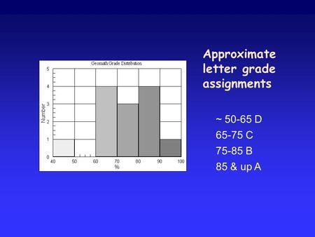 Approximate letter grade assignments ~ 50-65 D 65-75 C 75-85 B 85 & up A.