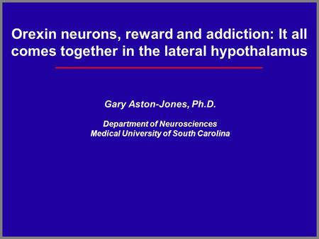 Orexin neurons, reward and addiction: It all comes together in the lateral hypothalamus Gary Aston-Jones, Ph.D. Department of Neurosciences Medical University.
