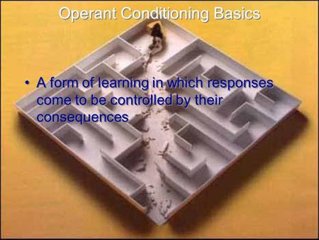 Operant Conditioning Basics A form of learning in which responses come to be controlled by their consequences A form of learning in which responses come.