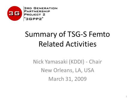 1 Summary of TSG-S Femto Related Activities Nick Yamasaki (KDDI) - Chair New Orleans, LA, USA March 31, 2009.