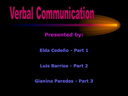 Presented by: Elda Cedeño - Part 1 Luis Barrios - Part 2 Gianina Paredes - Part 3.