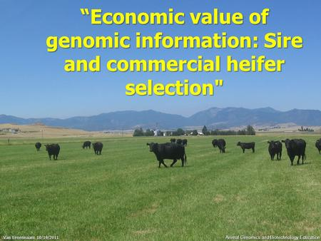 "Animal Genomics and Biotechnology Education ""Economic value of genomic information: Sire and commercial heifer selection Van Eenennaam 10/19/2011."