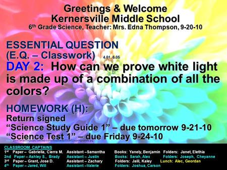 Greetings & Welcome Kernersville Middle School 6 th Grade Science, Teacher: Mrs. Edna Thompson, 9-20-10 ESSENTIAL QUESTION (E.Q. – Classwork) 4.01, 6.05.