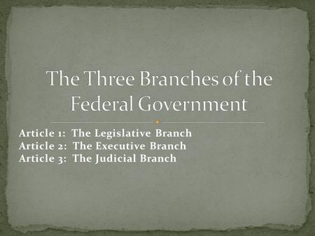 Article 1: The Legislative Branch Article 2: The Executive Branch Article 3: The Judicial Branch.