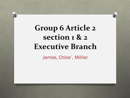 Group 6 Article 2 section 1 & 2 Executive Branch James, Chloe', Milller.