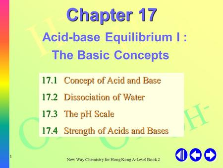 H+H+ H+H+ H+H+ OH - New Way Chemistry for Hong Kong A-Level Book 2 1 Chapter 17 Acid-base Equilibrium I : The Basic Concepts 17.1Concept of Acid and Base.