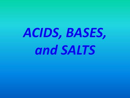 ACIDS, BASES, and SALTS. An acid is a(n) ________________ compound. Most molecular compounds, if they are soluble in water, dissolve differently from.