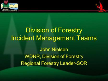 Division of Forestry Incident Management Teams John Nielsen WDNR, Division of Forestry Regional Forestry Leader-SOR.
