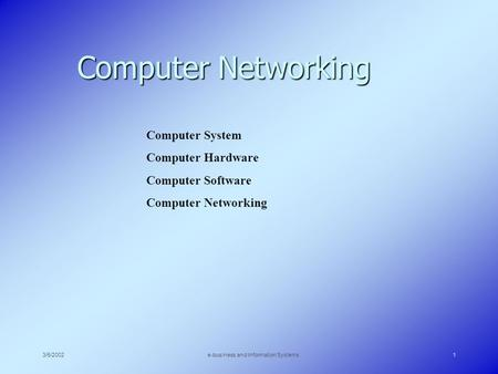 3/5/2002e-business and Information Systems1 Computer Networking Computer System Computer Hardware Computer Software Computer Networking.
