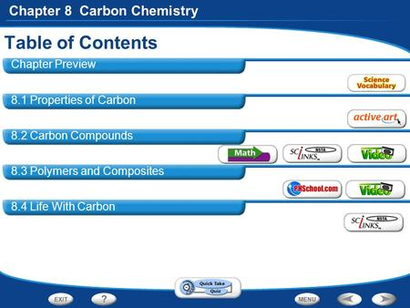 Chapter 8 Carbon Chemistry 8.1 Properties of Carbon 8.2 Carbon Compounds 8.3 Polymers and Composites 8.4 Life With Carbon Table of Contents Chapter Preview.