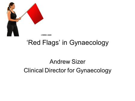 'Red Flags' in Gynaecology Andrew Sizer Clinical Director for Gynaecology.