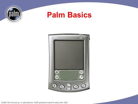 © 2000 Palm Computing. All rights reserved. NCDPI granted permission for use by Palm, 2003. Palm Basics.