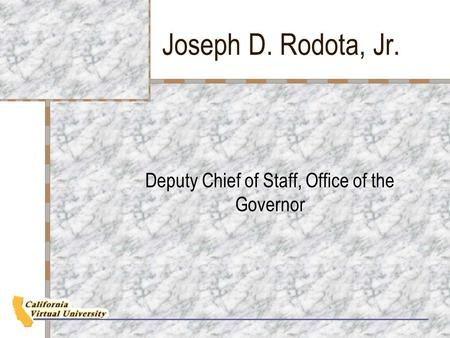 Joseph D. Rodota, Jr. Deputy Chief of Staff, Office of the Governor.