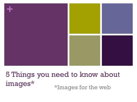 + 5 Things you need to know about images* *Images for the web.