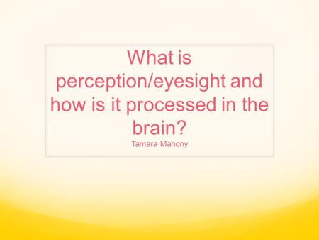 What is perception/eyesight and how is it processed in the brain? Tamara Mahony.