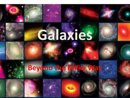 Galaxies Beyond the Milky Way. Types of Galaxies There are Three main types of Galaxies: 1.Spiral (like the Milky Way) 2. Elliptical (Round without internal.